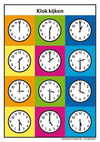 <h1>Klokkijken met Frokkie en Lola deel 2</h1>Oefen het klokkijken met de werkbladen van Frokkie en Lola.