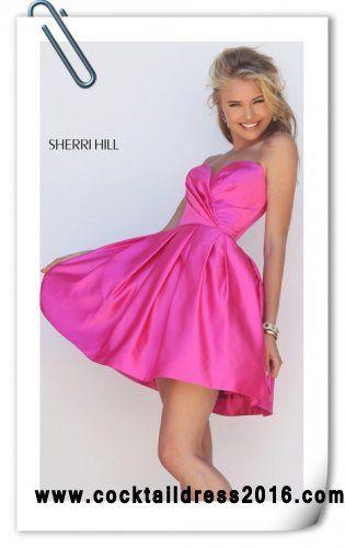 Cheap Sherri Hill 50147 Fuchsia Sweetheart Pleated Strapless Cocktail Dress