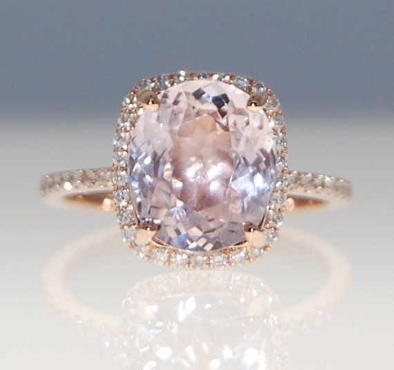 3ct cushion mauve blush ice peach champagne sapphire 14k rose gold diamond ring engagement ring