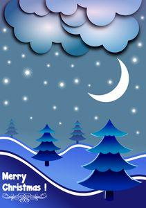 Disegno di cartolina d'auguri di Natale alberi di blu