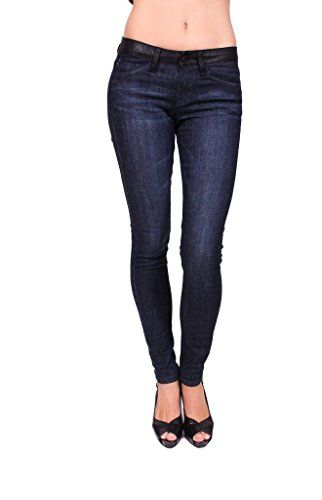 Flying Monkey Jeans Women Skinny Jeans with Faux Leather on Waistband 7 Dark Denim *** Click on the affiliate link Amazon.com on image for additional details.