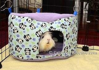 Small pet fleece house hideaway... Just DIYed this, top and bottom are quarter circles, rectangular strips for the sides, cut out hole. Not too bad, hiding the seams was a little tricky.