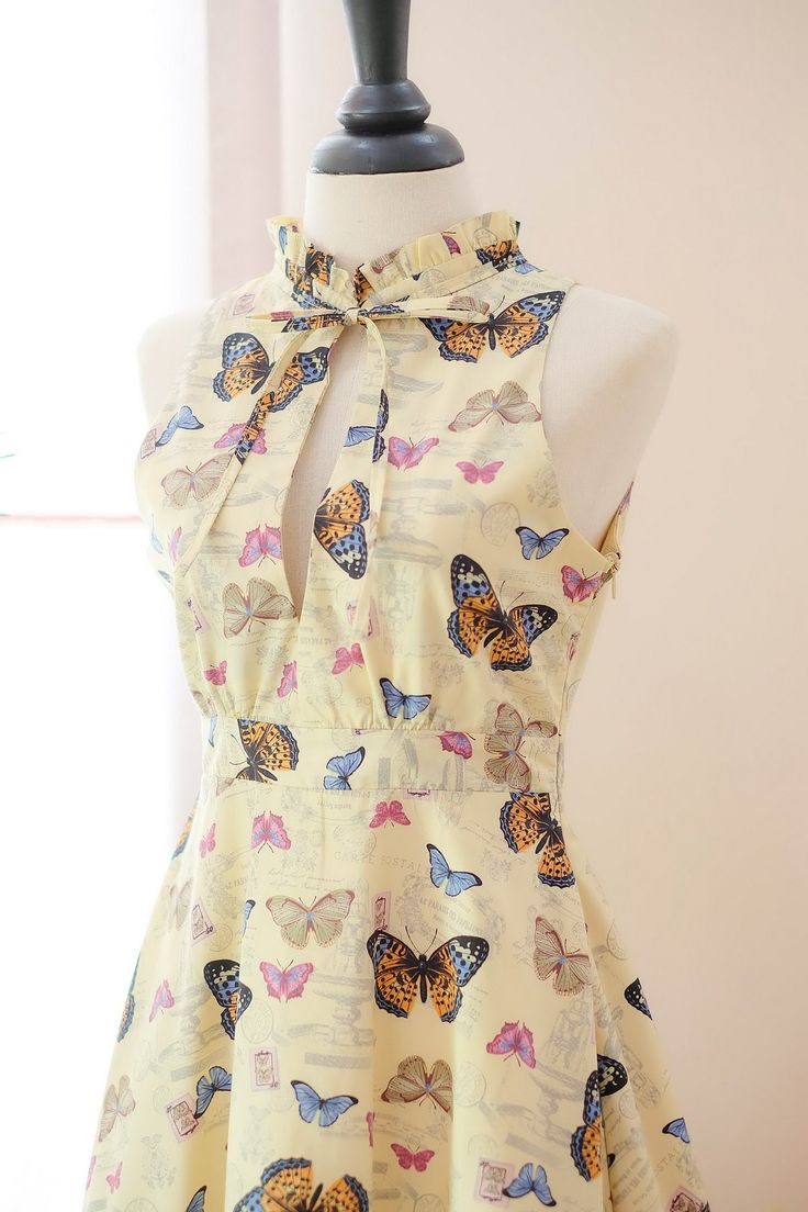 Marry Bridesmaid dress Cottage faded yellow dress butterfly floral dress spring summer sundress