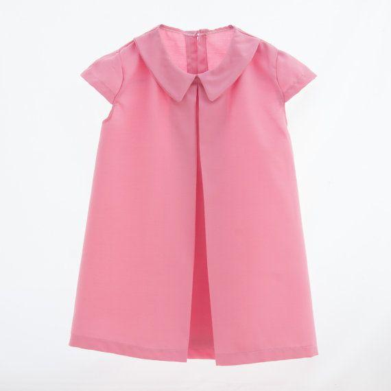 Mariza girl's dress peter pan collar pink by EVAKAYcollection