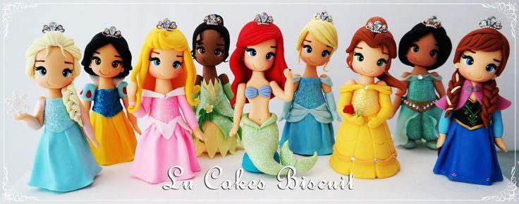 Princesas Disney em Biscuit  Elsa, Branca de Neve, Aurora, Tiana, Ariel,Cinderela, Bela, Jasmine, Anna