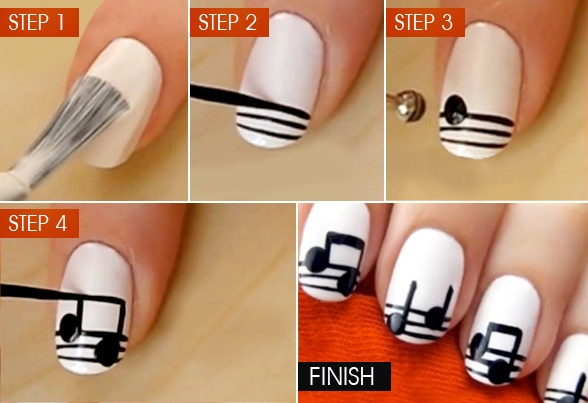 Music is the purest form of art! This summer, add some #music to your #nails. Check out this musical #nail art; hit 'like' and show your  'Share' and tell us how many of you would like to try this?  Image source: indulgy.com