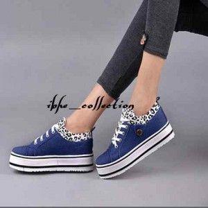 Sepatu Jins Loreng Biru Muda