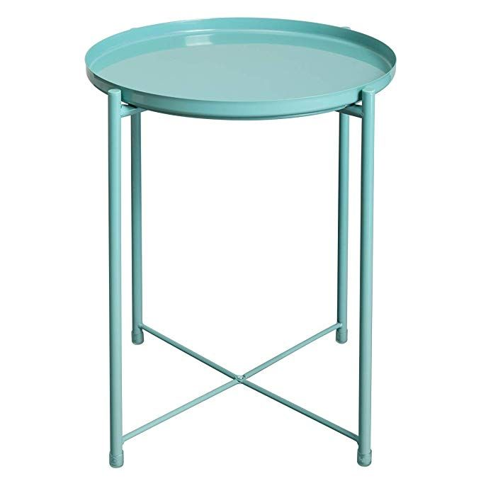 Amazon Com Hollyhome Folding Tray Metal End Table Sofa Table Small Round Side Tables Anti Rust And Waterp Metal End Tables Small Round Side Table Side Table