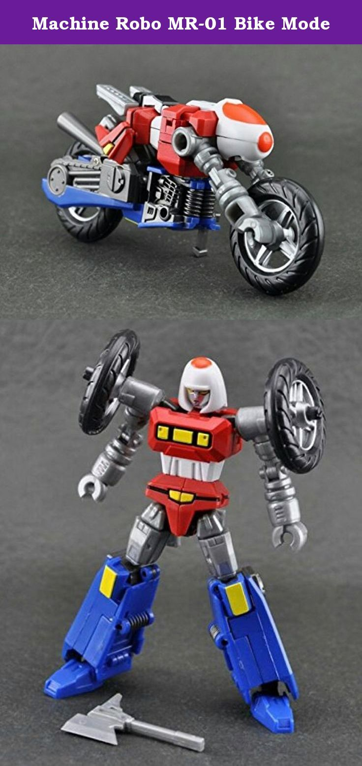 "Machine Robo MR-01 Bike Mode. Robot Mode - 16 points or articulation - Stands 4.75""/11.5 cm tall - Axe weapon Bike Mode - 4.75""/11.5 cm long - Rolling Wheels - Removable kickstand and handlebars Display base is included Die Cast Parts."
