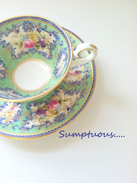 Antique Teacup and Saucer Royal Doulton Ovington Brothers Tea cup and Saucer Made in England Tea Party Ca. 1920's