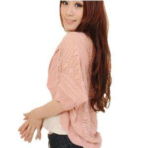 DAYISS女性のバットウィングスリーブニットトップカーディガンコート編みニットセーター(ピンク)