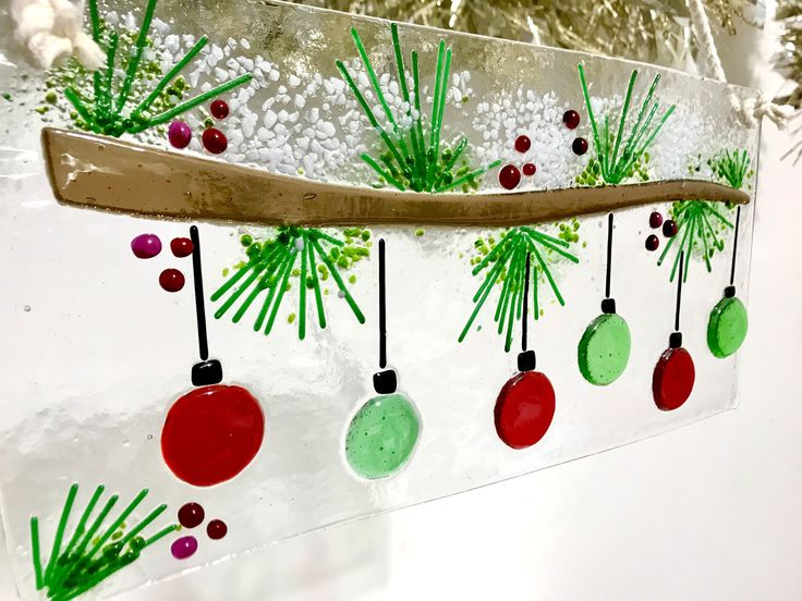 Fused Glass Snowy Bough With Ornaments by KarmaBeads on Etsy https://www.etsy.com/listing/565915723/fused-glass-snowy-bough-with-ornaments