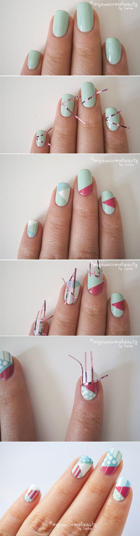 Si alguna vez te preguntaste como lograr un arte de uñas perfectamente geométrico, piensa en tiritas de cinta scotch - Estos tutoriales visuales y sencillos te muestran como hacerlos.