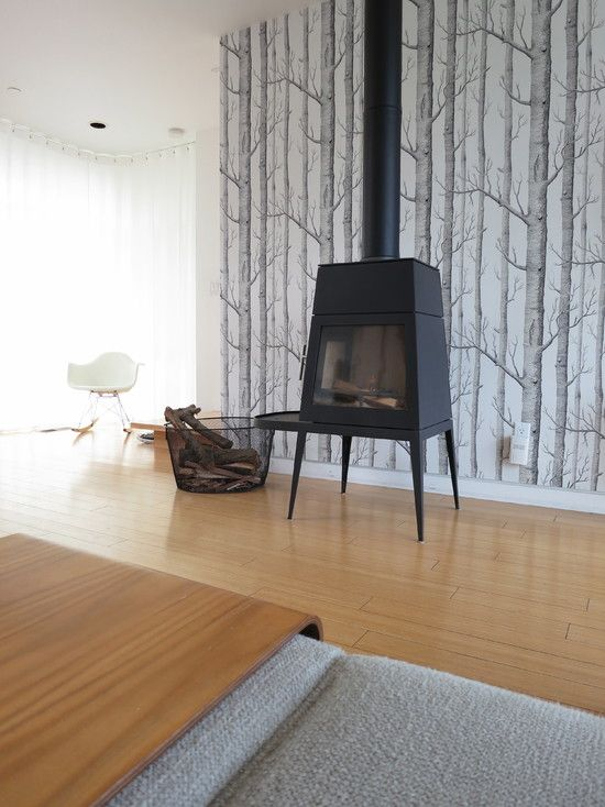 woodstove (Shaker Stove, Wittus) and tree wallpaper (Woods 69/12149 Cole & Son)