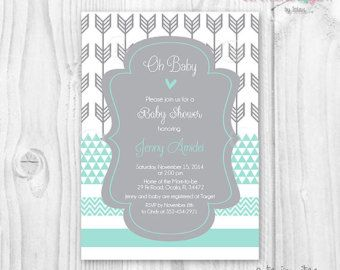 Baby shower coral aqua mint and grey arrows chevron