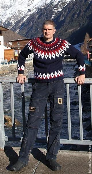 Ручное вязание мужской свитер