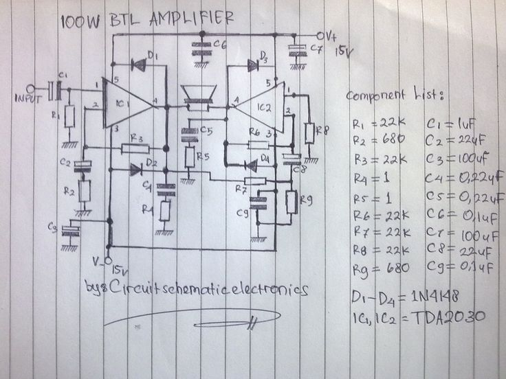 100w Btl Tda2030 Amplifier Circuit In 2020