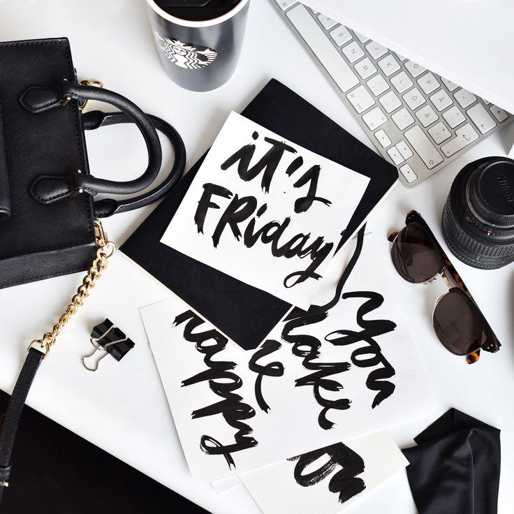 Desk setup. Flatlay. Monochrome. Lettering. Typography. Friday. Starbucks.