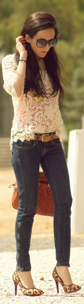 Spring / Summer - street chic style - party style - dark denim skinnies + leopard print stilettos + nude belt + crochet or lace top + sunglasses + golden accessories + brown handbag