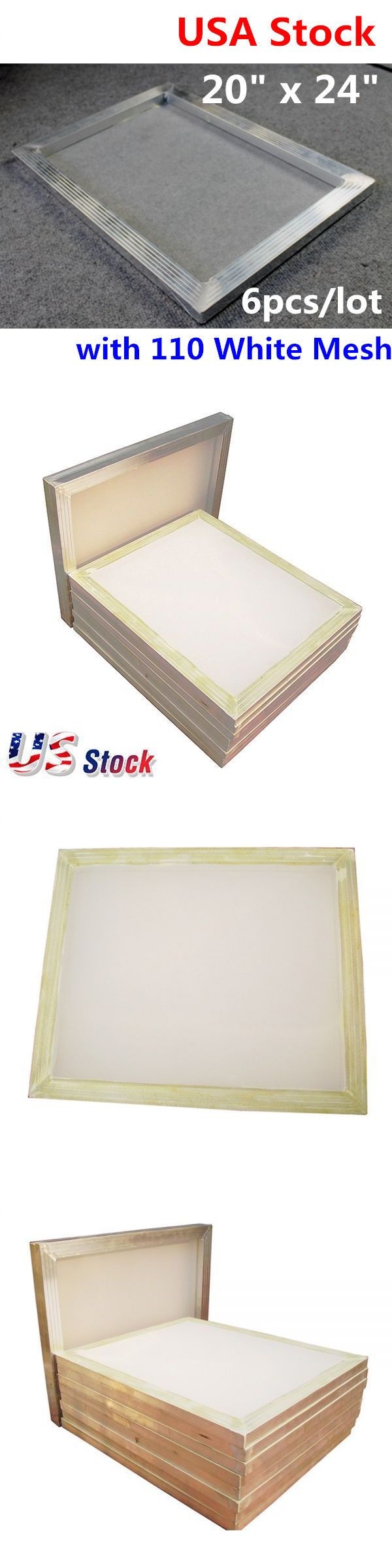 Screen Printing Frames 183114: Us Stock-6 Pcs - 20X24 Inch Aluminum Screen With 110 White Mesh -> BUY IT NOW ONLY: $83.66 on eBay!