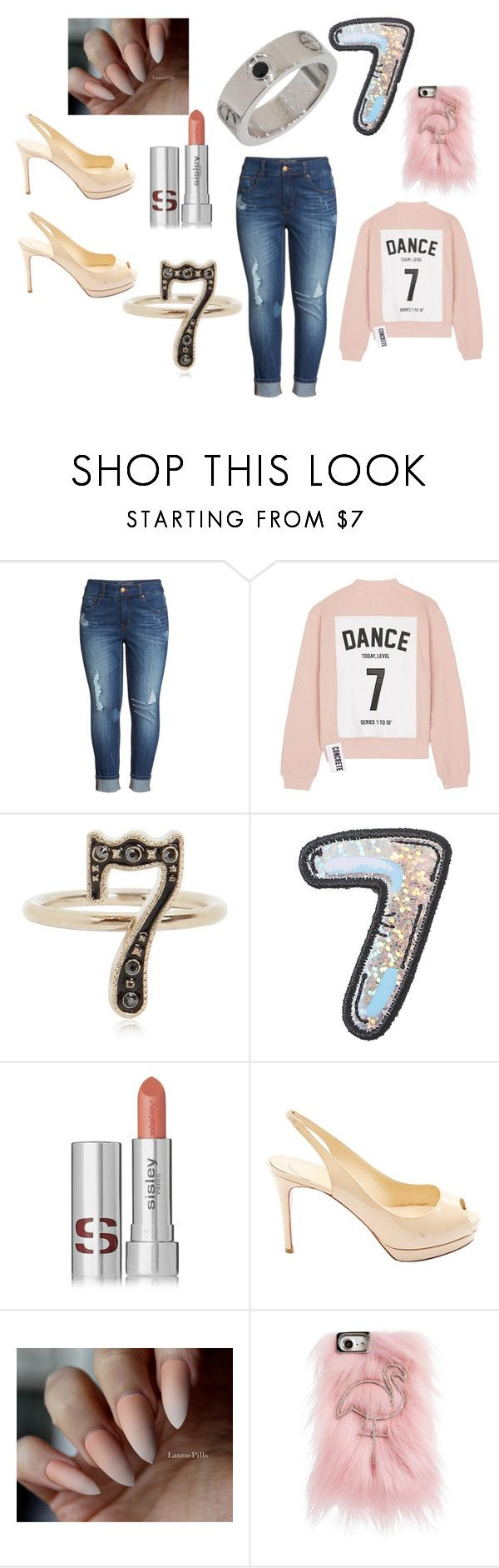 """""""Number 7"""" by freckles-the-dork ❤ liked on Polyvore featuring Melissa McCarthy Seven7, Studio Concrete, Valentino, Stoney Clover Lane, Sisley, Christian Louboutin, Skinnydip, women, plussize and numbers"""