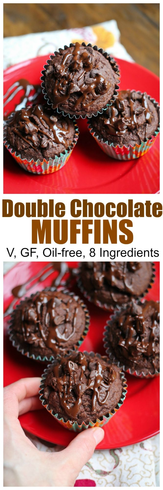 8 Ingredient Gluten-free Vegan Double Chocolate Muffins that are also oil-free and just 1 bowl! SO good and easy to make. Moist, rich and super chocolatey |
