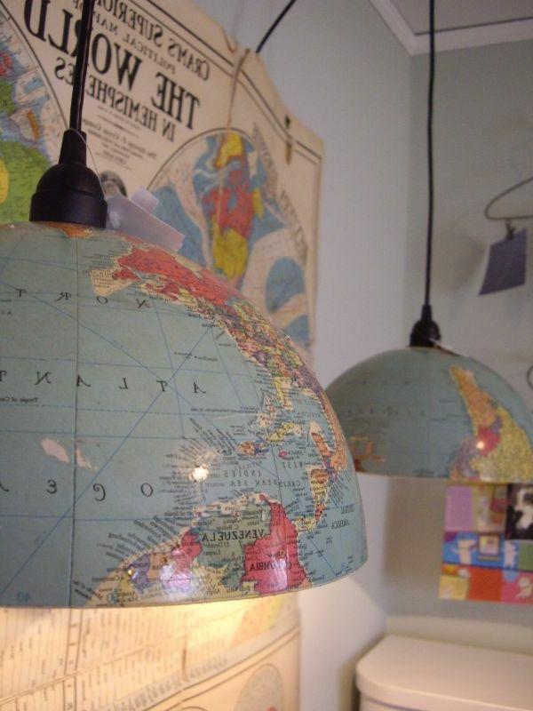 tischlampen selber machen - globus teile verwenden - Lampe selber machen – 30 einmalige Ideen                                                                                                                                                     Mehr