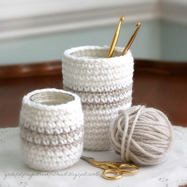 13 Glass, Jar, Candle or Cup Cozy DIY Projects ༺✿Teresa Restegui http://www.pinterest.com/teretegui/✿༻