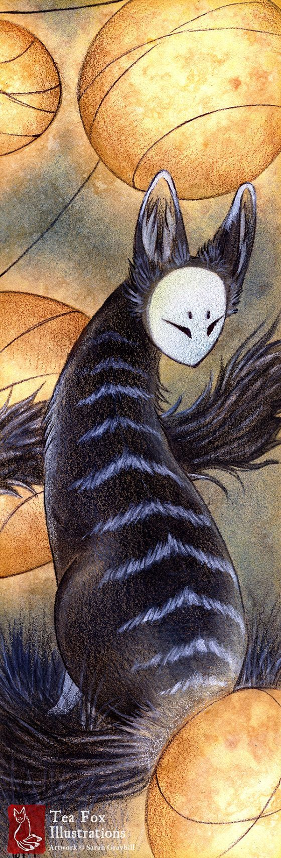 Stripes / Kitsune Fox Youkai / Japanese Asian Style Art / 4x12 inch Lustre Print