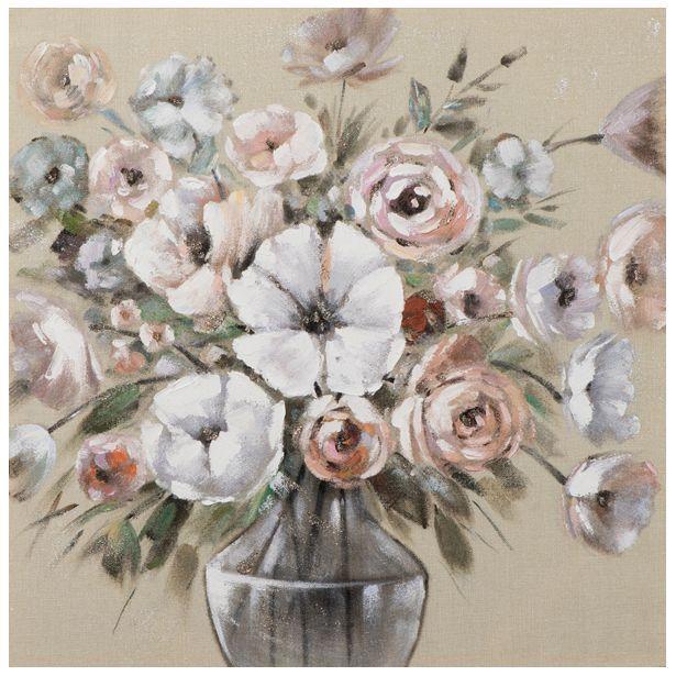 Tableau FLEURS bouquet de fleurs dans un vase tons beiges, bruns, blancs, rouges et verts 80x80cm - Pier Import