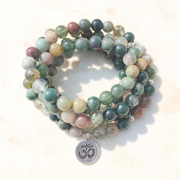 Indian Agate Stone Mala Bracelet/Necklace