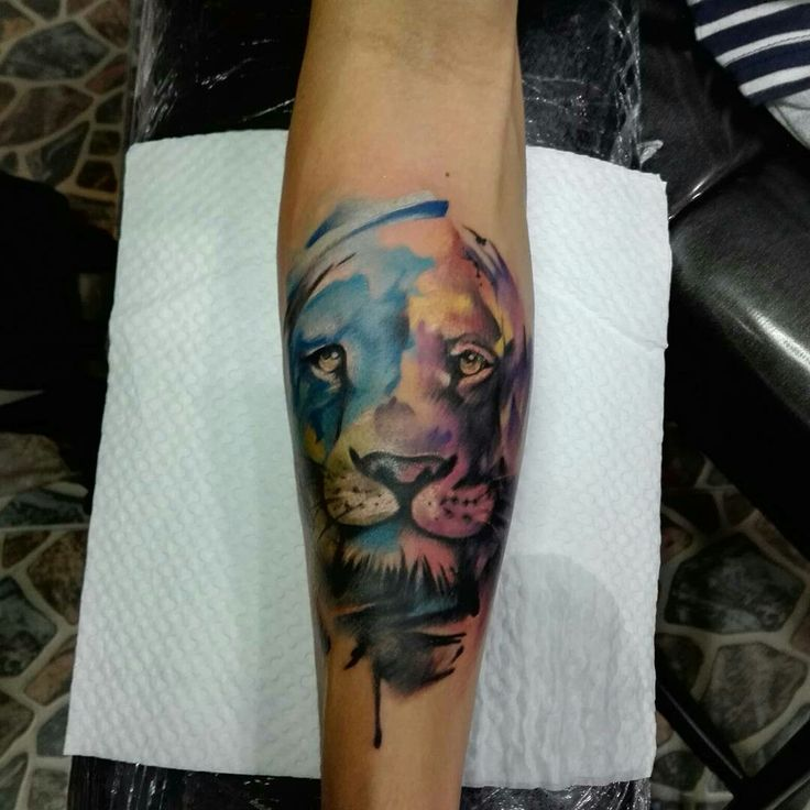 So funny 😋😋😋😋 #watercolour #tattoo #liontattoo #kaosanroad