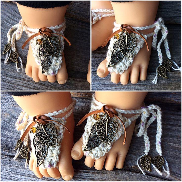 "Unisex ""bohemian baby barefoot sandals"" - www.rosebudbabydesigns.etsy.ca"
