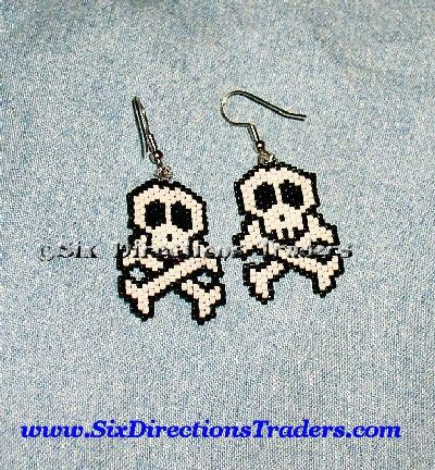 Jolly Rodger Pirate Flag Brick Stitch Indian Beaded Earrings Halloween