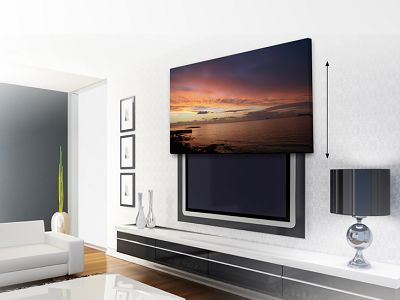 the amazeballs picture lift hide a flat screen tv behind a piece of moving artwork living