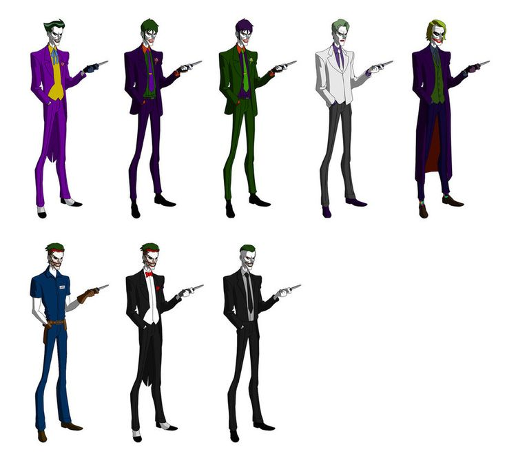 So : from left to right, the Batman Animated famouse Joker's design, Young Justice Joker, the Jokester (Earth 3 Good Joker) with the design of Young Justice one, The Dark Knight Returns old Joker a...