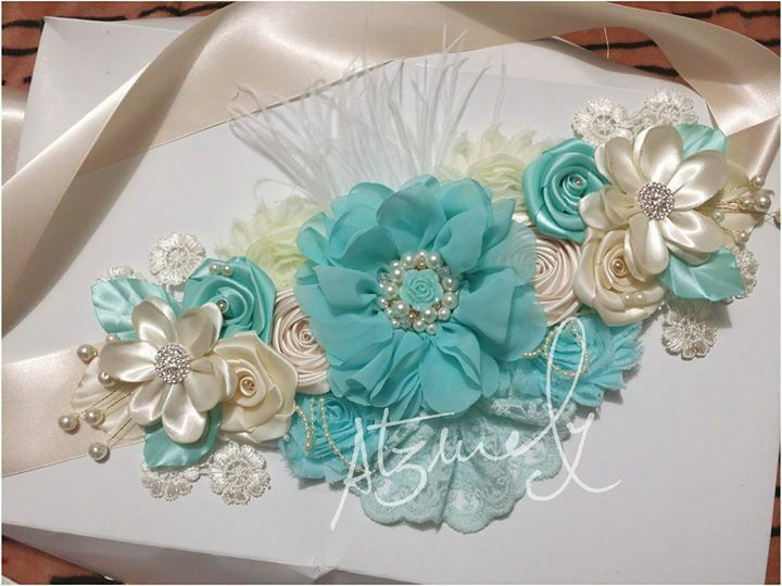 Couture Maternity Sash Blue And White Its By Atarahscreations