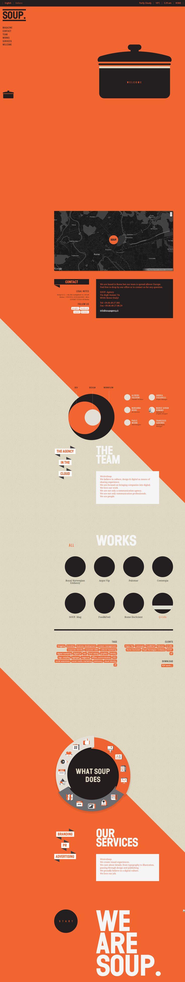 Unique Web Design, Soup Agency #WebDesign #Design (http://www.pinterest.com/aldenchong/)