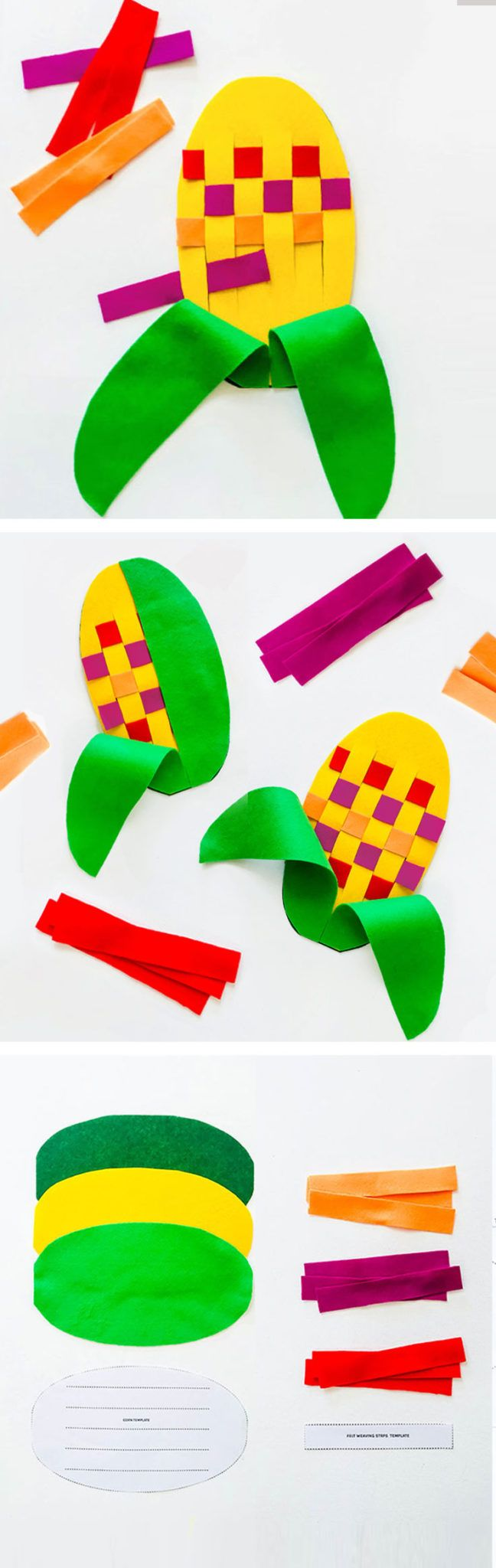 You can make this fun fall Indian corn weaving felt toy for your pre-schooler or kinder in minutes! Fantastic fine motor skill and pattern-making practice