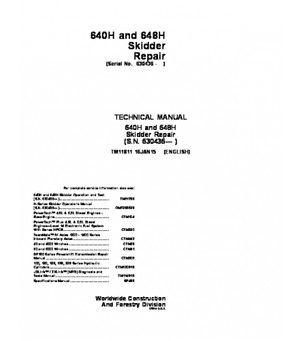 DOWNLOAD JOHN DEERE 640H 648H SKIDDER SERVICE TECHNICAL