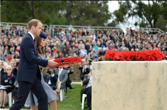 Anzac Day 2014: Duke and Duchess of Cambridge lay wreath in Canberra as thousands march across country - http://www.warhistoryonline.com/war-articles/anzac-day-2014-duke-duchess-cambridge-lay-wreath-canberra-thousands-march-across-country.html