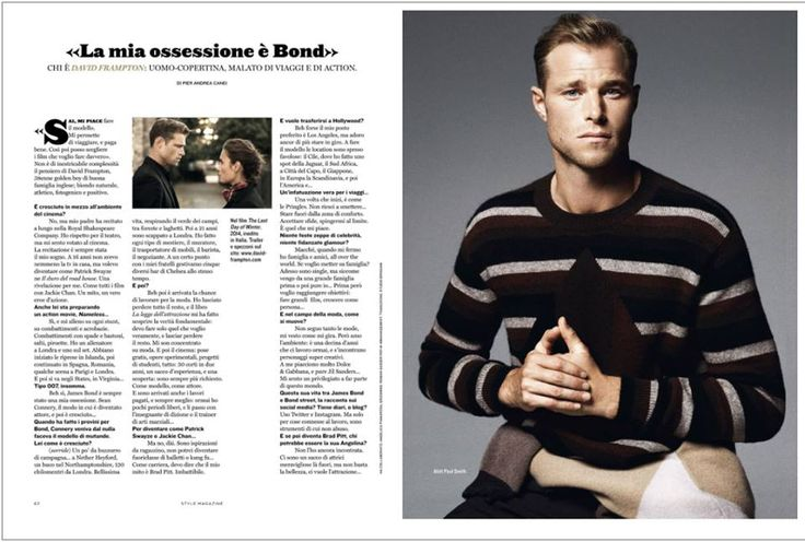 British actor David Frampton cover of Style Italia