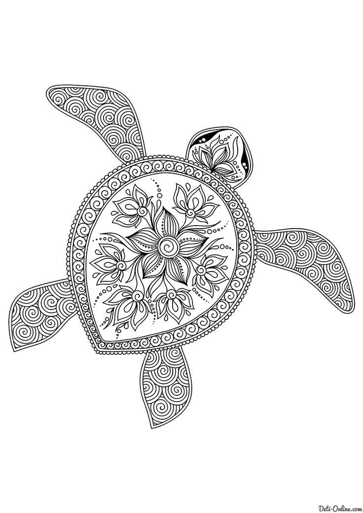 Раскраска Плывущая черепаха | Раскраски с животными ...