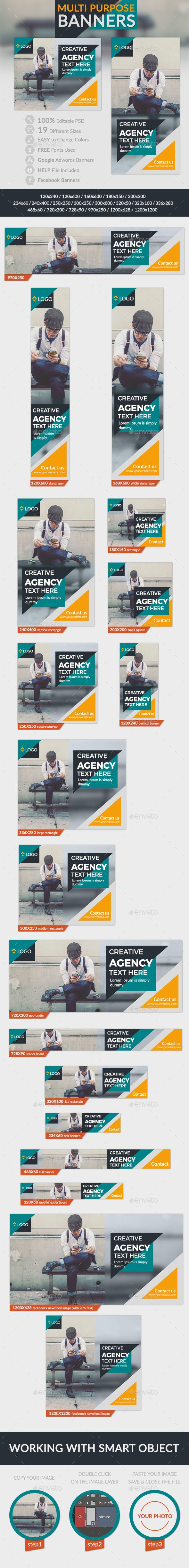 Multipurpose Banners — Photoshop PSD #retargeting #promotions • Available here → https://graphicriver.net/item/multipurpose-banners/15800630?ref=pxcr