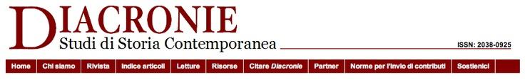 """Diacronie  Estimados amigos,  tengo el placer de comunicaros que el nuevo número 11 de la revista italiana  """"Diacronie - Studi di Storia Contemporanea"""" está online desde ayer; éste número  es un monográfico dedicado a la historia y la sátira  Por vuestro interés hemos asimismo activado un servicio de 'newsletter' al que  podéis gratuitamente   http://www.studistorici.com/letture/newsletter  http://www.studistorici.com/2013/03/11/cfp15_es/"""
