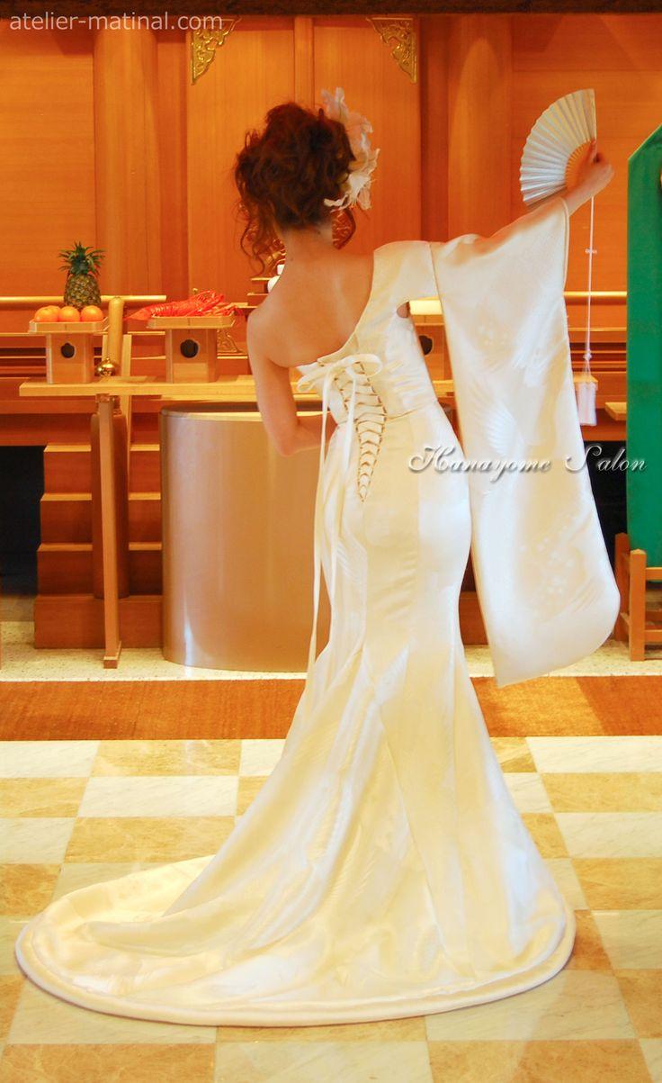 Remake from white strokes credited to kimono dress - wedding dress craftsman Keiko Furukawa bride Salon Atelier Matty null -