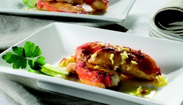 Cangrejo Rojo Real con lima y jengibre.   Una receta oriental, deliciosa