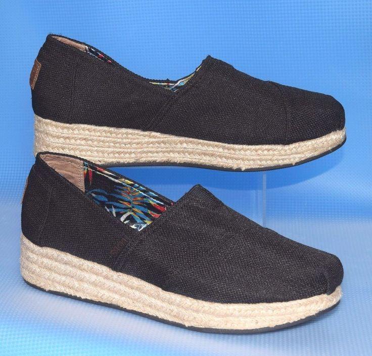 Sz 9 Skechers BOBS High Jinx Women's Espadrille Wedge Slip-On Shoes Black Canvas #Skechers #Espadrilles