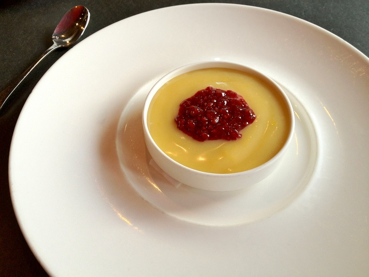 Lemon curd with raspberry and graham cracker crust. A dessert special at The Butcher Shop, Boston.