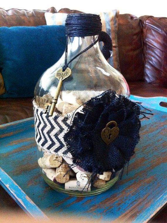 Decorative Glass Bottle with Chevron Ribbon and Wine Corks on Etsy, $50.00